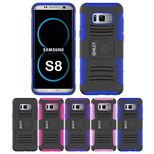 Price comparison product image Galaxy S8 Stand Case, HLCT Rugged Shock-Proof Dual Layer PC and Soft Silicone Case With Built In Kickstand for Samsung Galaxy S8 (2017) (Blue)