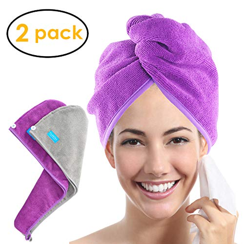 - YoulerTex Microfiber Hair Towel Wrap for Women, 2 Pack 10 inch X 26 inch, Super Absorbent Quick Dry Hair Turban For Drying Curly, Long, Thick Hair(Purple+Gray) ...