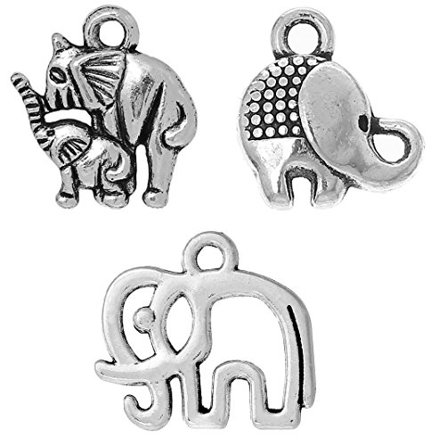 Lucky Elephant Charm Pendants 90 Pack, Silver Tone Wholesale