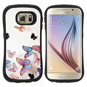 """Hypernova Slim Fit Dual Barniz Protector Caso Case Funda Para Samsung Galaxy S6 [Arte de la mariposa del vuelo de Primavera Crayon Tiza""""]"""