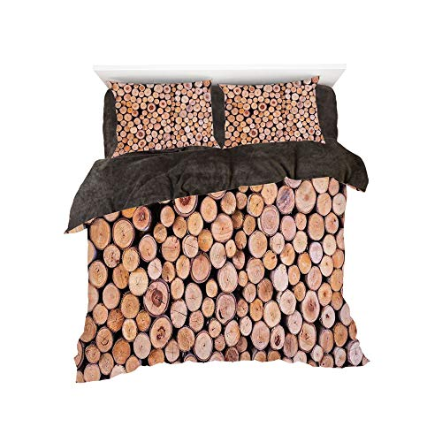 ed Sheet Set with Bedding Pillow Case Cover for Bed Width 6ft Pattern by,Rustic Home Decor,Mass of Wood Log Forest Tree Industry Group of Cut Lumber Circle Stack Image,Cream ()