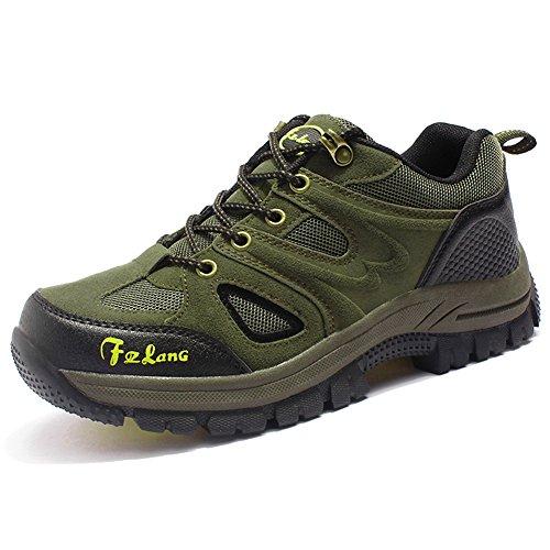 Unisex - Erwachsene Wanderschuhe Trekking Schuhe Wasserdicht Atmungsaktiv Veloursleder Bequeme Outdoor Hiking Sneaker Grün