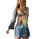 Chiffon Dress - Kimloog Women Long Flare Sleeve Floral Print Loose Short Mini Dresses Bikini Cover Up Beach Sundress (XL - Colorful)