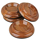 Yibuy Rosewood color Acrylic Double Wheel Upright Caster Cups Pads for Piano Set of 4