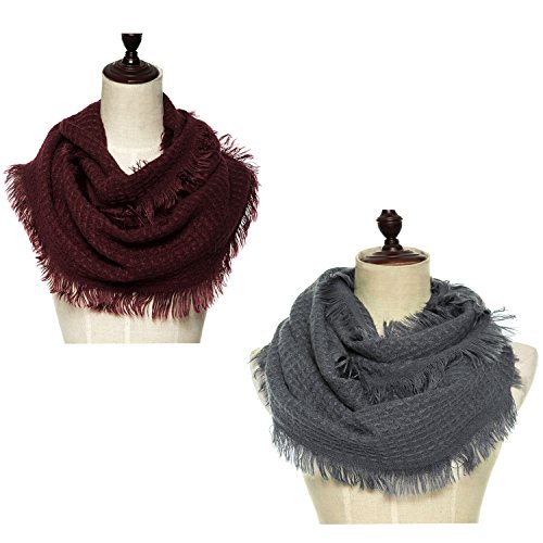 Lucky Leaf Women Knit Winter Infinity Scarf With Fringe Pack of 2 (Burgundy+Grey)