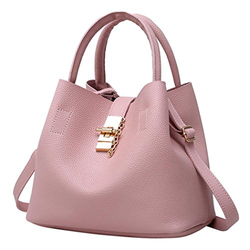 Alixyz Bucket Bag Pu Leather Totes Handbags for Women Satchels Shoulder Bags (M, Pink)