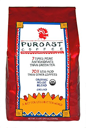 Puroast Low Acid Coffee Organic House Blend Drip Grind, 5 Pound Bag