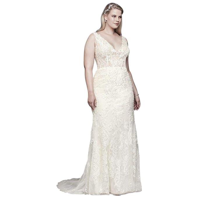 David\'s Bridal Plunging Illusion Bodice Plus Size Wedding ...