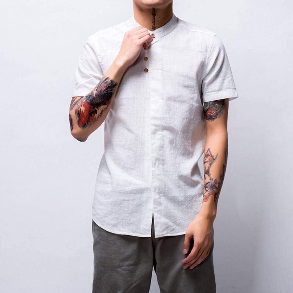 GFRBJK Camisa Causal de Hombre Chemise Summer Slim Fit Botón de ...