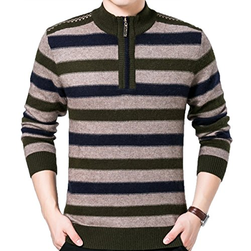 Cityelf Men's Winter Chunky Thermal Stripe Zipper Knitted Sweater Pullover