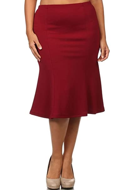 ae31e213f09d9 CurvyLuv Women s Plus Size Flared Midi Skirt Mermaid Style Pleated Knee  Length at Amazon Women s Clothing store