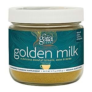 Gaia Herbs Golden Milk with Organic Turmeric Powder and Ashwagandha,3.7 Oz