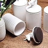KEYAMA 4Pcs/set white ceramic food storage jar 20 OZ (600ML) ceramic food Sealed jar Tea Coffee Spice Storage canisters Exquisite animal modeling Kitchen Decorative Storage jars (4Pcs/Set)