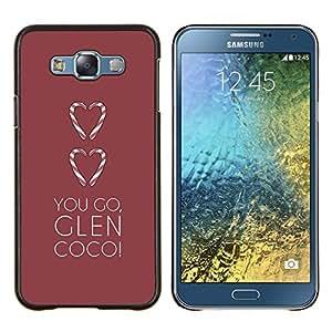 TECHCASE---Cubierta de la caja de protección para la piel dura ** Samsung Galaxy E7 E700 ** --amas de ir cañada corazón minimalista marrón