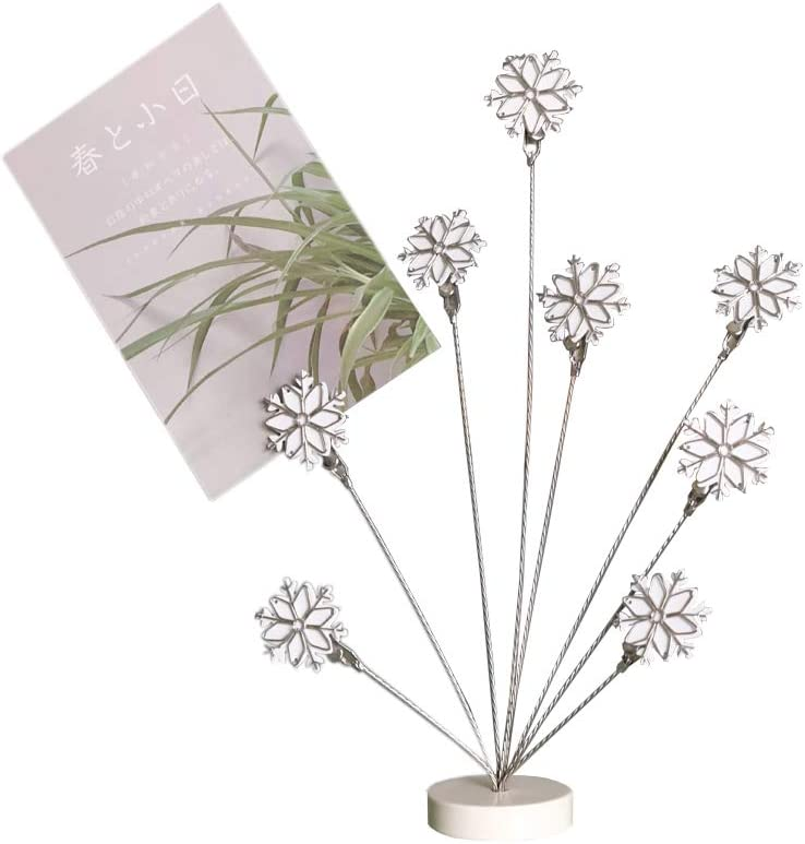 8-Branch Family Tree Picture Frame Holder, Card Photo Clips Holder Desk Stand for Memo Paper Note Photo Christmas Wedding Card Display (White Snowflake)