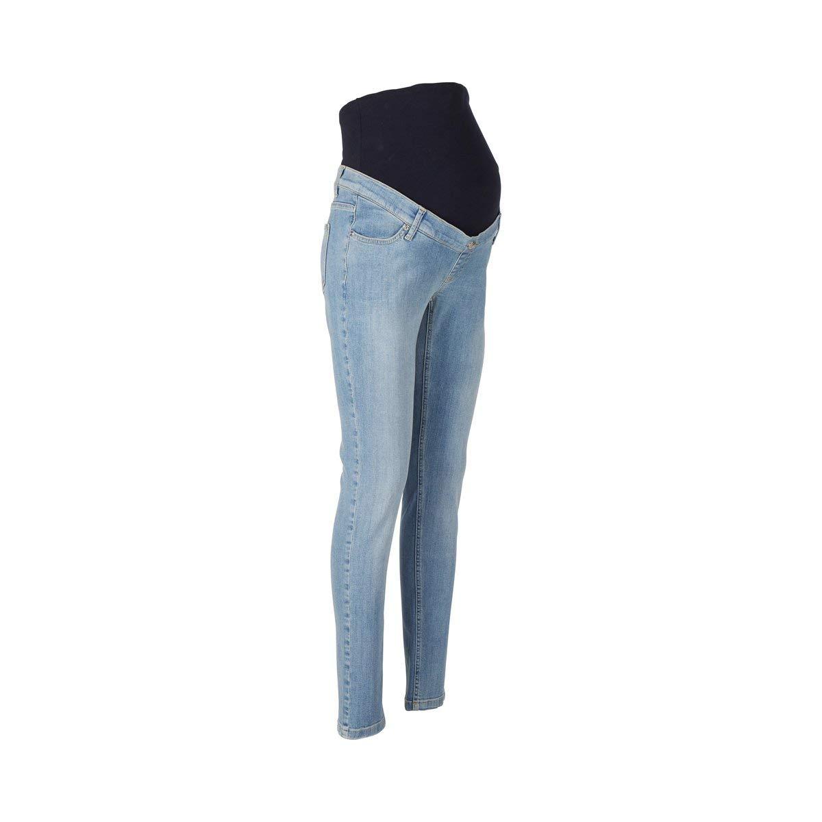 Light Blue Denim Schwangerschaftshose aus elastischem Denim mit /Überbauchbund aus Jersey 2HEARTS Umstands-Jeans Skinny Love is in The Air