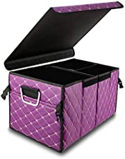 WinPower Leather Car Trunk Organizer with Cover Multi Compartment Foldable Auto Cargo Storage Box