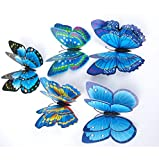 (US) 12Pcs 3D Butterfly Magnet Wall Stickers Vovotrade® Thanksgiving Christmas (Blue)