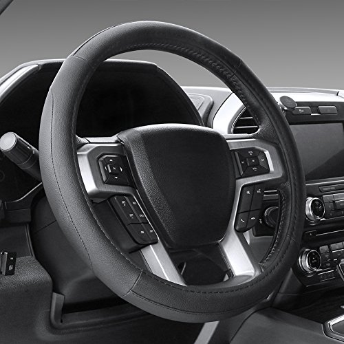 SEG Direct Black Microfiber Leather Steering Wheel Cover for F-150 Tundra Range Rover 15.5