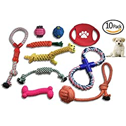 Dog Toys 10 Pack Set Variety Doggie Ball Rope Chew Squeaky Animal Rope Small Medium Dogs Teeth Cleaning Aggressive Chewers Interactive Exciting Exercise IQ Boredom Safe Natural Cotton Value Pack Prime