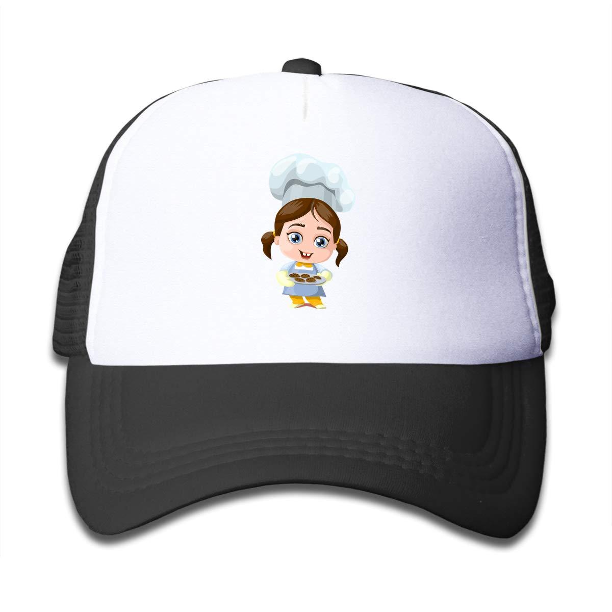 4d5d314b5db Amazon.com  Kids Chef Girl Printed Baseball Cap Hat Adjustable Mesh Trucker  Hats for Boys Girls Black  Clothing