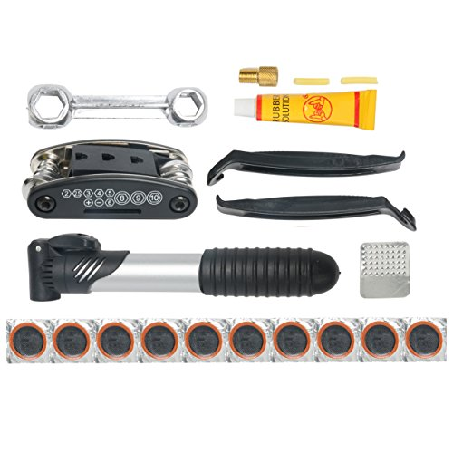 YaeTek Mini bike repair tool kit with pump - Mini bicycle repair tool kit with pump,16 in 1 Bicycle Essential Multi tools Set by YaeTek