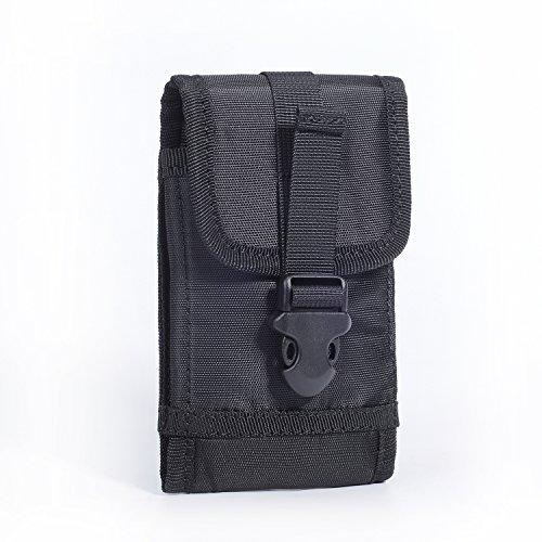 iPhone 6 Plus Galaxy S6 Edge Plus Handytasche, Praktisch Segeltuch Handy Tasche Gürteltasche Halfter Hülle Beutel - 5.0~5.5 Zoll - Schwarz