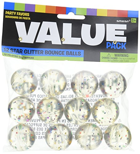 Amscan Fun Filled Birthday Star Glitter Bounce Balls (Pack Of 12), Multicolor, (High Bounce Glitter)