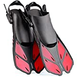 CAPAS Snorkel Fins, Snorkeling Fins Swim Fin Short Adjustable Diving Fins for Adult Men Womens Kids Scuba Diving Swimming Duck Feet Swim Travel Open Heel Flippers Snorkelling Fins (Red, S/M)