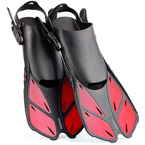 CAPAS Snorkel Fins, Snorkeling Fins Swim Fin Short Adjustable Diving Fins for Adult Men Womens Kids Scuba Diving Swimming Duck Feet Swim Travel Open Heel Flippers Snorkelling Fins (Red, S/M)
