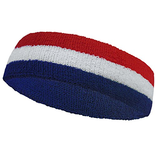 Couver 3 Striped Large Thick Wide Basketball Headband pro[1 Piece] (Blue/White/Red)