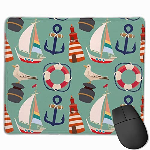 Cartoon Boat Anchor Sailing Pigeon Mouse Pads Computer Laptop Keyboard Mousepad Office Space Home Decor Mouse Mats Accessories 9.8 X 11.8 X 0.1 Inches