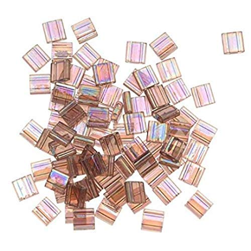 (Amethyst Ab Transparent Matte Tila Beads 7.2 Gram Tube By Miyuki Are a 2 Hole Flat Square Seed Bead 5x5mm 1.9mm Thick with .8mm Holes)