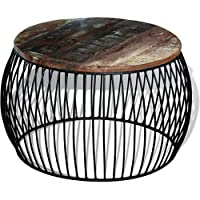 Festnight Round Reclaimed Wood Coffee Table, 26.8x 13.8