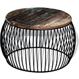 Reclaimed Wood Round Coffee Table Festnight Round Reclaimed Wood Coffee Table, 26.8