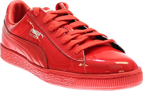 Shine Patent Leather Shoes - PUMA Men's Basket Matte and Shine Fashion Sneaker, High Risk Red S, 8.5 M US