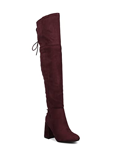 46ab49cc6f9 Indulge Bella-I Women Faux Suede Over The Knee Hind Lace Up Block Heel Boot