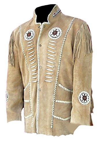 Indian Western Jacket Leather - Classyak Men's Western Cowboy Fringed Motokit Leather Jacket Suede Beige XX-Large