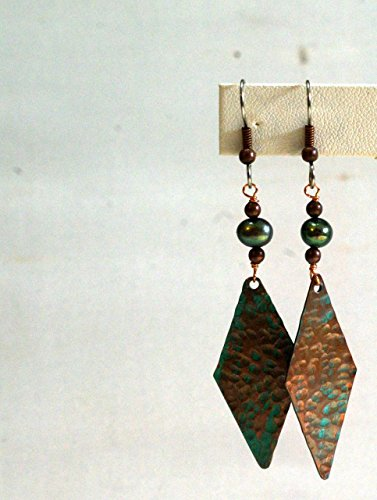Copper Embossed Earrings - Verdigris Patina Copper Diamond with Mint Colored Pearls - Hammered Pattern ()