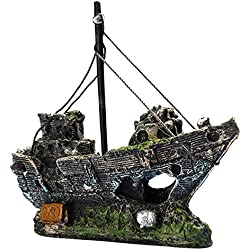 Clearance Sale!DEESEE(TM)Ship Boat View Aquarium Rockery Hiding Cave Tree Fish Tank Ornament Decoration (B)