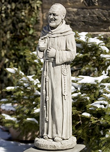 Campania International R-047-GS Padre Pio Statue, Grey Stone Finish