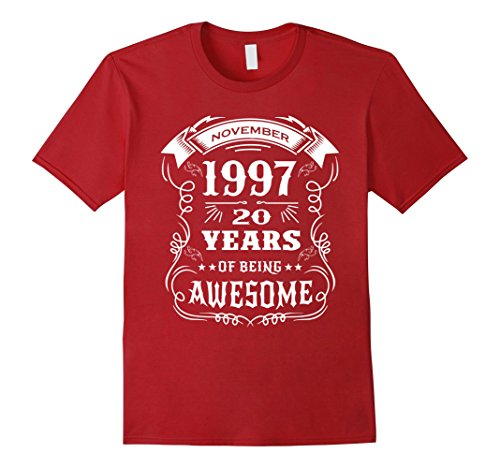 Mens Born in November 1997 - 20 years of being awesome T-Shirt 3XL Cranberry