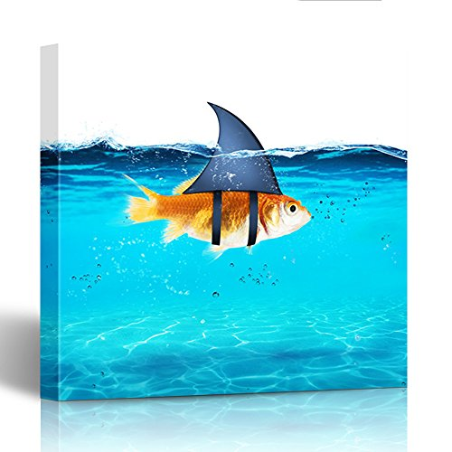 (Emvency Painting Canvas Print Wooden Frame Red Goldfish Acting As Shark to Terrorize the Enemies of Competition and Hidden 12x12 Inches Wall)