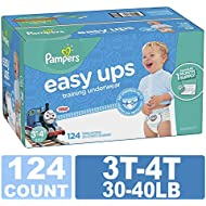 Pampers Easy Ups Training Pants Pull On Disposable Diapers for Boys, 3T-4T, 124 Count, ONE Month Supply