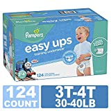 Pampers Easy Ups Training Pants Pull On Disposable Diapers for Boys, Size 5 (3T-4T), 124 Count, ONE Month Supply: more info
