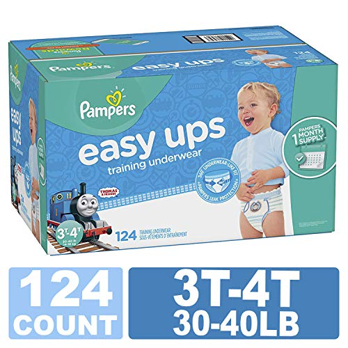 Pampers Easy Ups Training Pants Pull On Disposable Diapers for Boys, 3T-4T, 124 Count, ONE Month Supply (Going On A Train For The First Time)