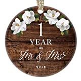 First 1st Wedding Anniversary 2018 Christmas Tree Ornament One Year Together Husband & Wife Married Couple Pretty Rustic Ceramic Collectible Keepsake Gift 3'' Flat Porcelain with Gold Ribbon & Free Box