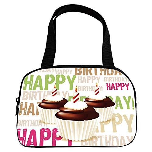Xoxo Hobo Handbag - Polychromatic Optional Small Handbag Pink,Birthday Decorations,Grunge Happy Birthday Pattern with Three Chocolate Cupcakes Candles,Multicolor,for Girls,Print Design.6.3