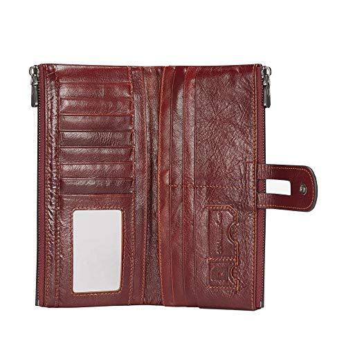 Lecxci Womens Genuine Leather Long Wallet Money Organizer Multi-Card Slots Purse with 2 Phone Zipper Pockets (Wine)