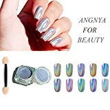 ANGNYA Holographic Nail Powder Laser Glitter Rainbow Chrome Smooth Manicure Pigment Shining Nail Art with 1 Sponge Kits